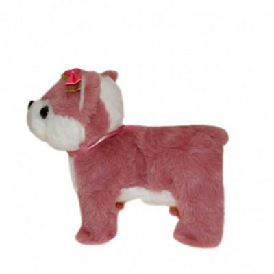 Žaislinis vaikštantis šuniukas su pavadėliu rožinis