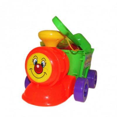 Žaislinis traukinukas su priedais žaisti smėlio dėžėje