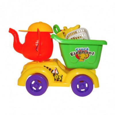 Žaislinis drambliukas savivartis su priedais žaisti smėlio dėžėje