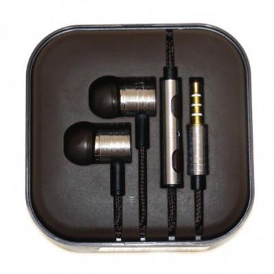 Laidiniai ausinukai su mikrofonu sidabriniai