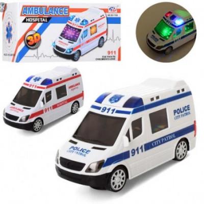Policijos mašina važiuoja, groja ir šviečia