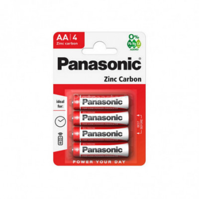 Panasonic Zinc Carbon elementai 1.5V (AA) R6, 4 vnt.