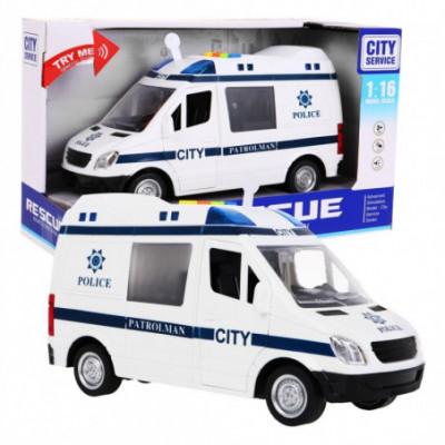 Didelis Policijos automobilis-mikroautobusas su garsais
