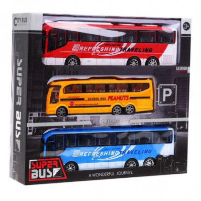 Autobusų rinkinys x3 vnt. mokyklinis autobusas