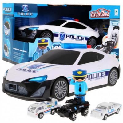 Policijos automobilis su x3 modeliukais + policininku