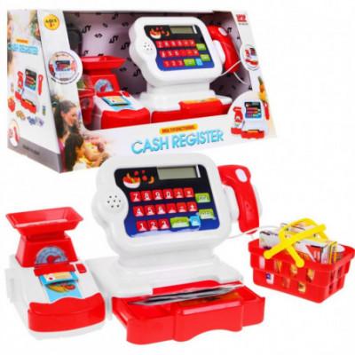 Žaislinė pinigų kasa, pirkinių krepšelis ir daug priedų