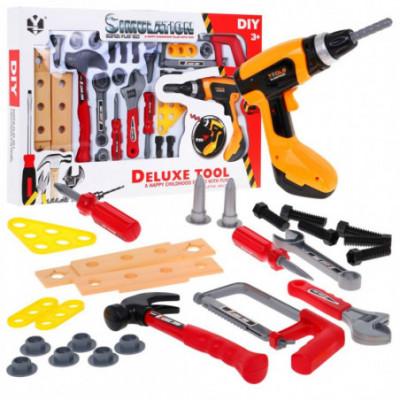 Įrankių rinkinys, plaktukas, pjūklas, suktukas - gręžtuvas
