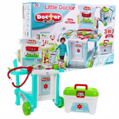Daktaro rinkinys 3in1 medicinos vežimas + priedai
