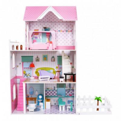Didžiulis, medinis lėlių namas su baldais