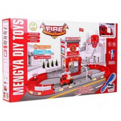 Žaislinė gaisrinės stotis su gaisrininko racija
