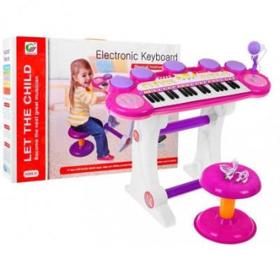 Gražus vaikiškas pianinas su kėdute ir mikrofonu