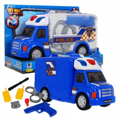 Policijos sunkvežimis su pareiguno priedais