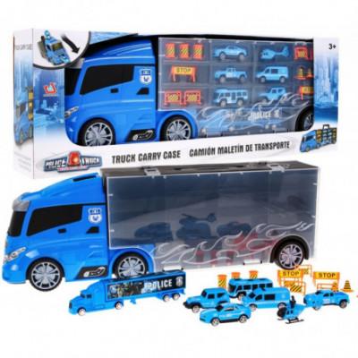 Didelis sunkvežimis su policijos transporto priemonėmis