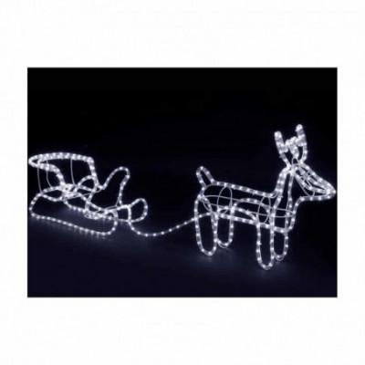 LED dekoracija 3D šviečiantis elnias su rogėmis
