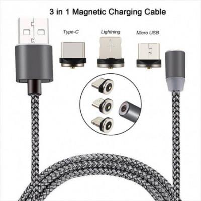 Magnetinis įkrovimo kabelis USB (+3 antgaliai iphone ir andraoid)