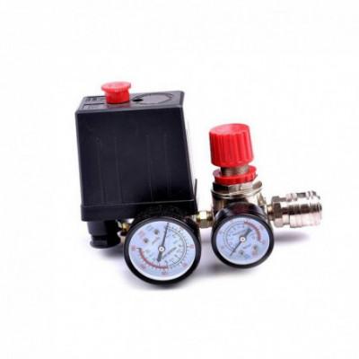 Oro kompresoriaus slėgio rėlė su manometrais 12 bar 230V