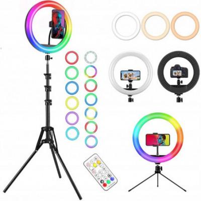 Žiedo formos LED šviesos RGB lempa su pultu ir stovu